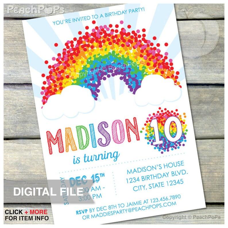 Rainbow 10th Birthday Invitation Party  ANY Age  Rainbow image 0
