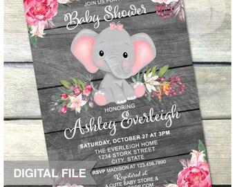 "Elephant Baby Shower Invitation - PINK - Girl Jungle Floral Safari Baby Shower - Rustic Wood Style - DIGITAL Printable Invite - 5"" x 7"""