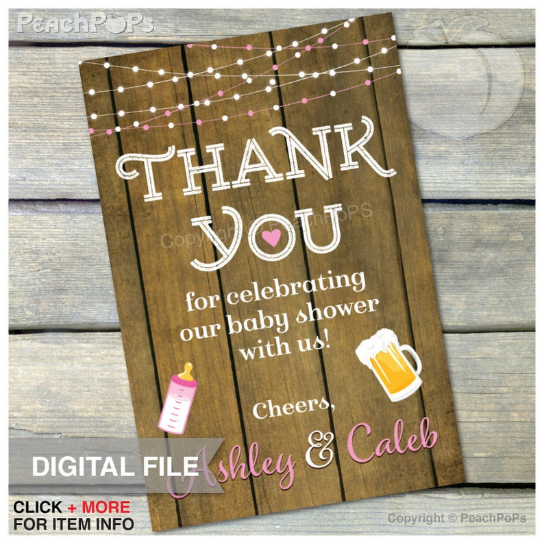 A Baby is Brewing Baby Shower  Pink  Thank You  4 x 6  image 0