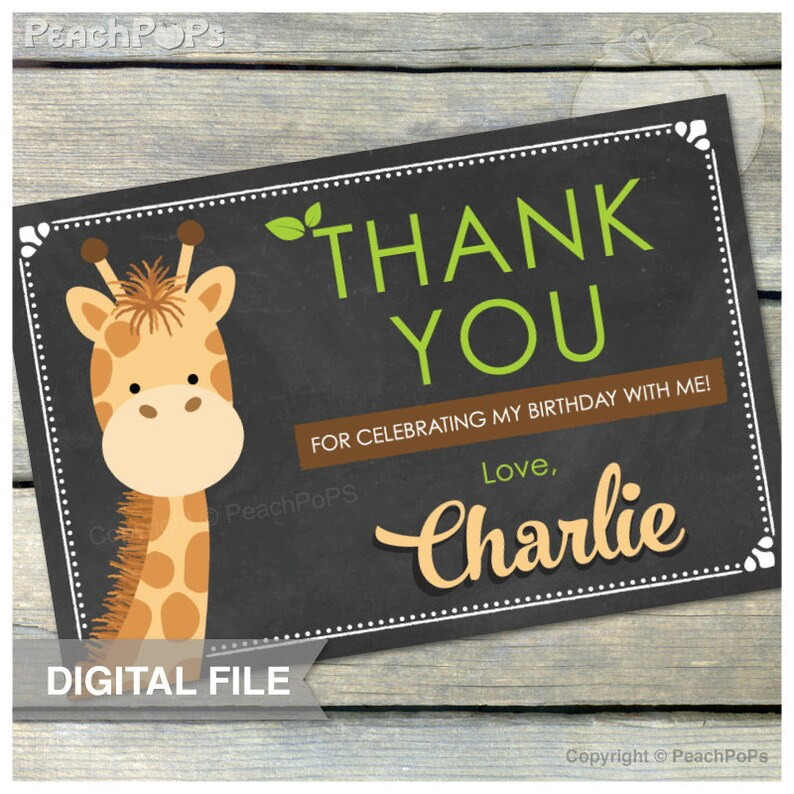 Giraffe Birthday Thank you Chalkboard Safari  Thank You  4 image 0