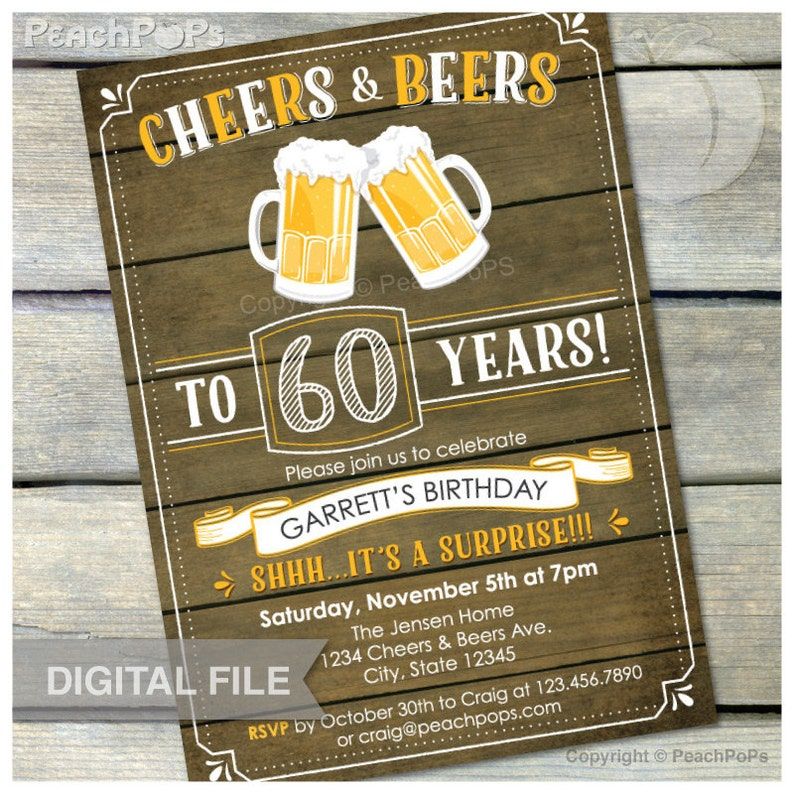 Surprise 60th Birthday Invitation Cheers & Beers Invite Rustic image 0