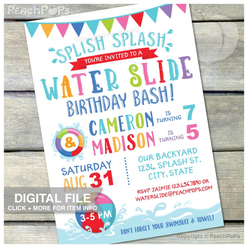 Joint Water Slide Birthday Invitation Waterslide Pool Party image 0