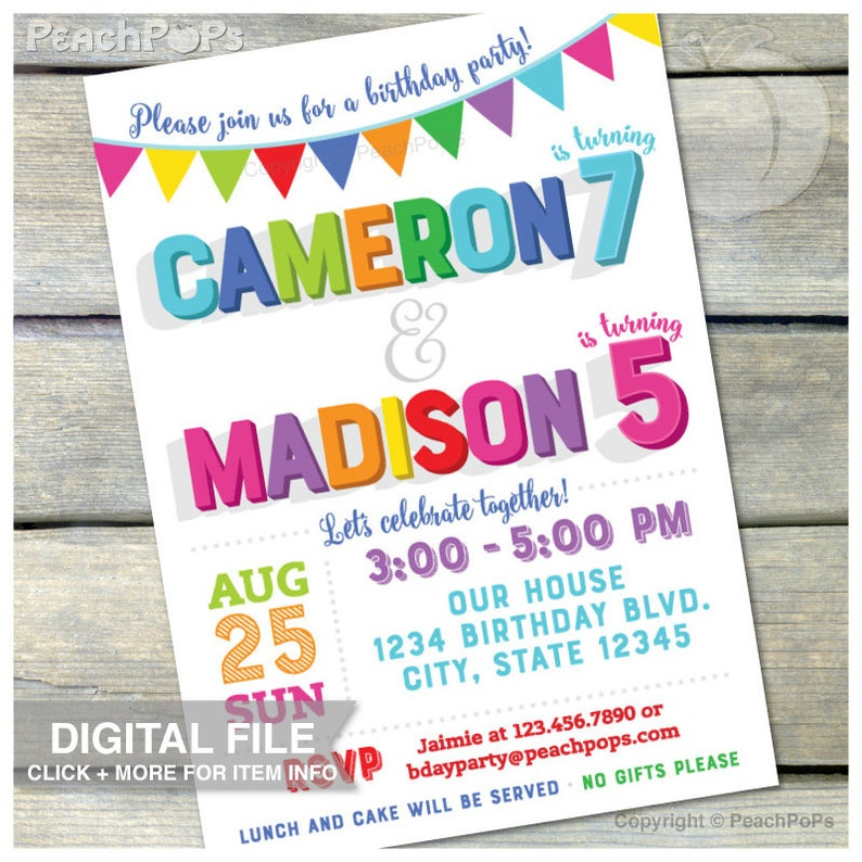 Joint Birthday Invitation Combined Birthday Party Boy or Girl image 0