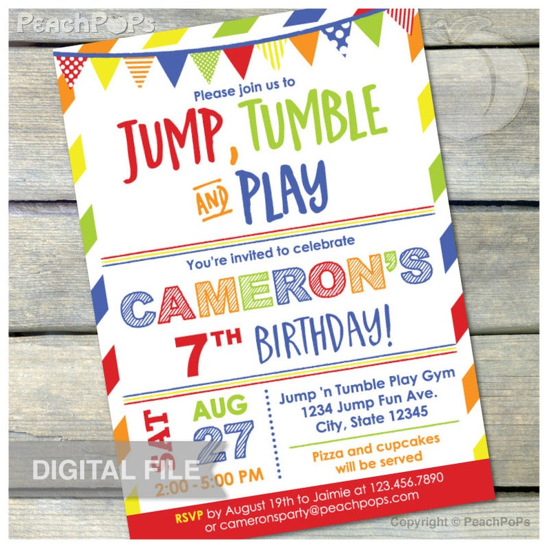 Gymnastics Birthday Invitation Jump Tumble Play Boys Girls Red image 0