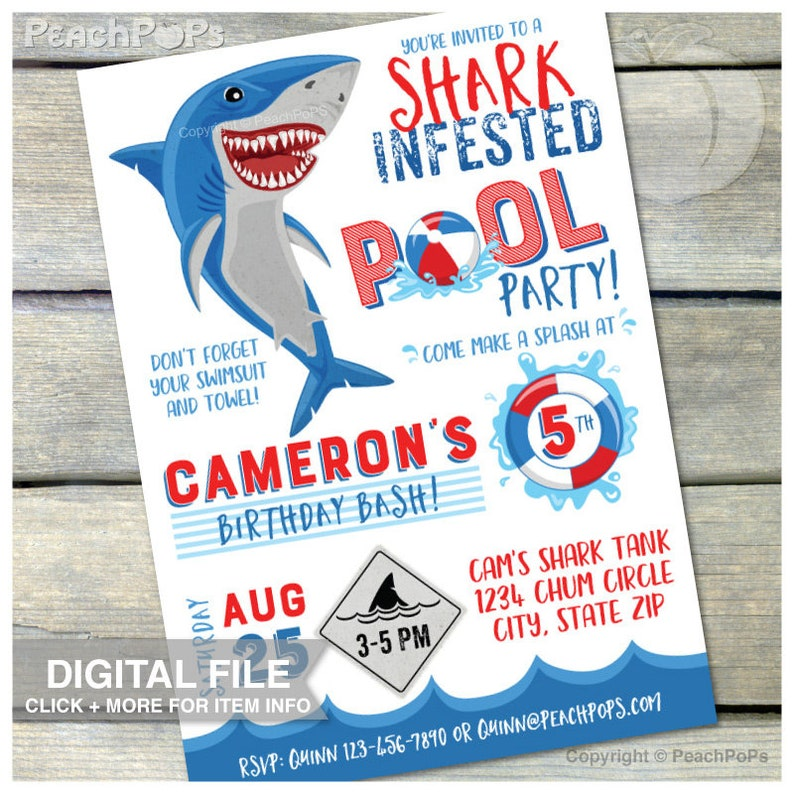 Shark Birthday Invitation Pool Party Summer Swim Bash Blue Red image 0