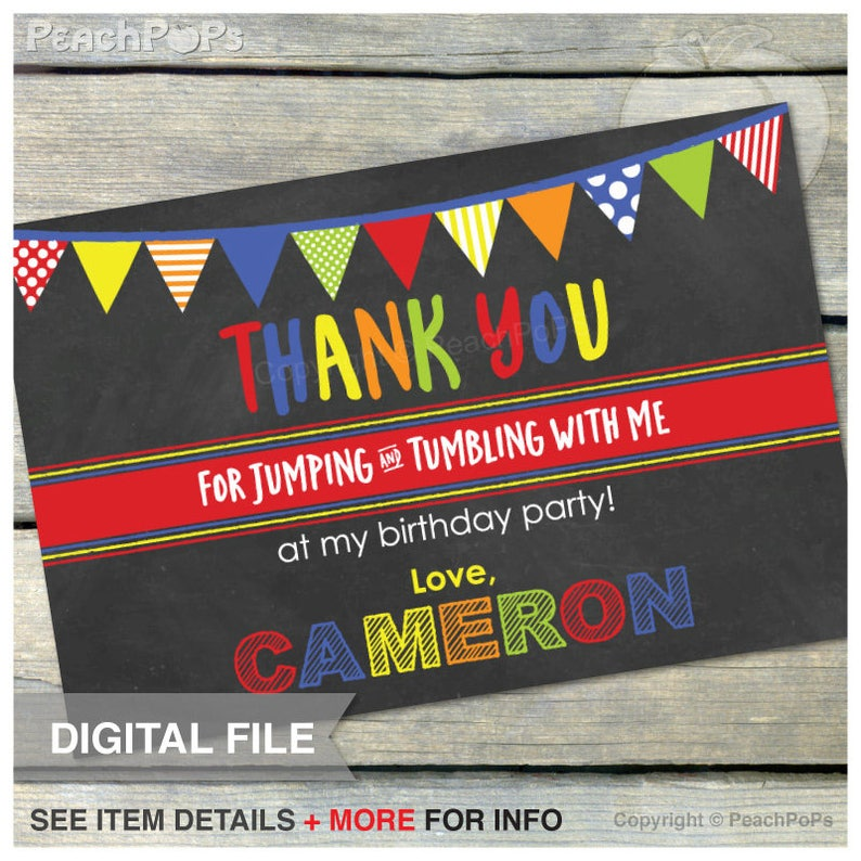 Jump Tumble Play Birthday Party Gymnastics  Red  Thank You  image 0
