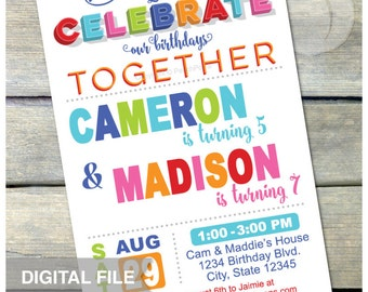 "Joint Birthday Party Invitation - Combined Birthday Invite - Brother Sister Boys or Girls Twins Any Age - DIGITAL Printable Invite - 5"" x 7"""