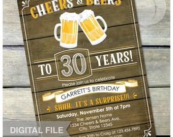 "Surprise 30th Birthday Invitation Cheers & Beers Invite Rustic Wood Country Style - Men Women - 5"" x 7"" Digital Invite"
