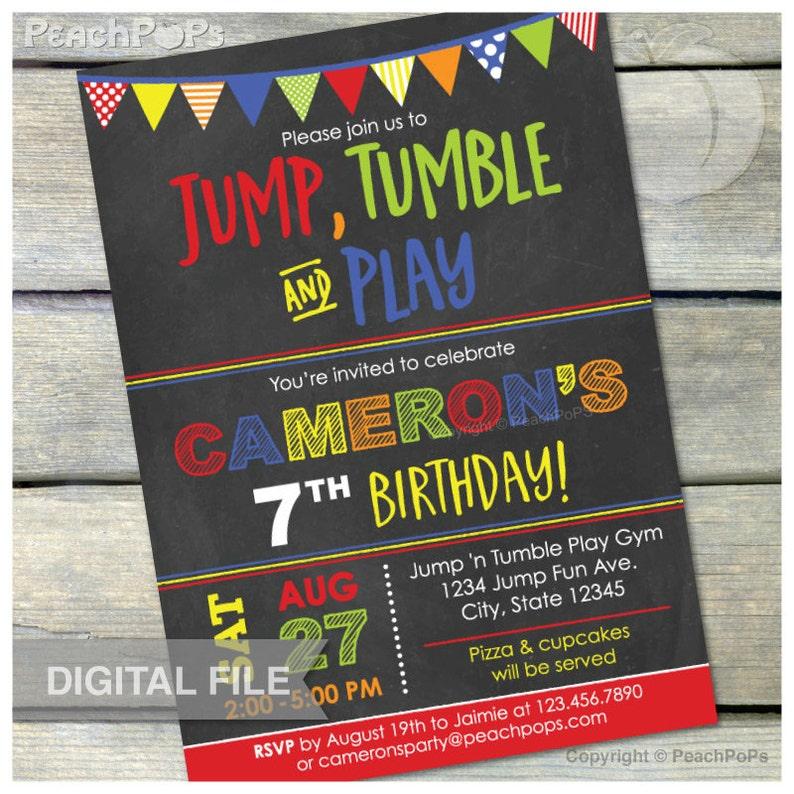 Gymnastics Birthday Chalkboard Invitation Jump Tumble Play image 0
