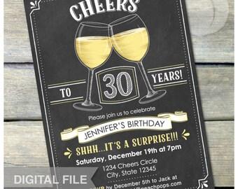 """Surprise 30th Birthday Invitation Cheers Wine Glass Invite Chalkboard Party Men Women - 5"""" x 7"""" Digital Invite"""