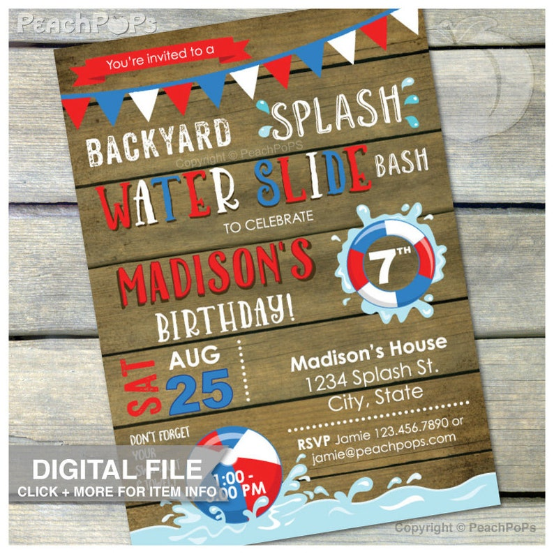 Splash Water Slide Birthday Party Waterslide Bash Invitation image 0