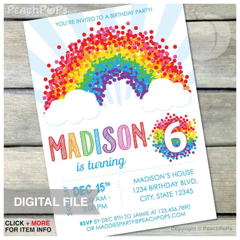Confetti Rainbow Birthday Party Invitation  6th  ANY Age  image 0