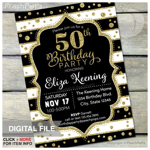 50th Birthday Invitation ANY Age Black And Gold Glitter