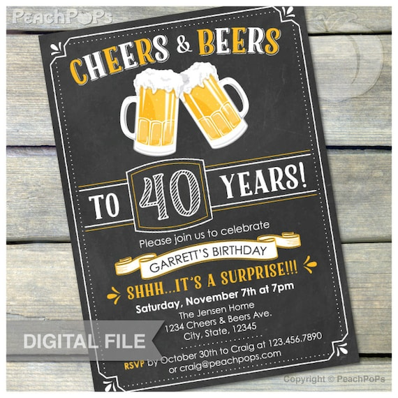 surprise 40th birthday invitation cheers beers invite etsy