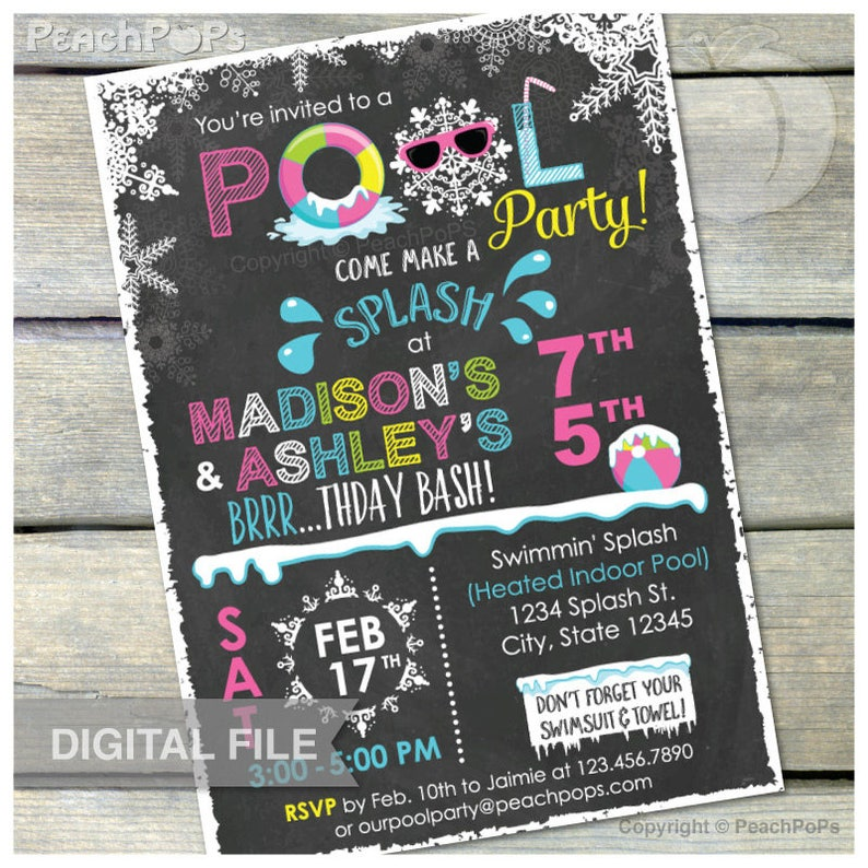 Joint Pink Winter Pool Birthday Party Chalkboard Invitation image 0