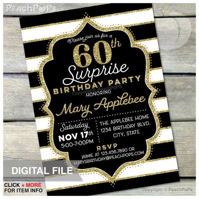 60th Birthday Invitation Surprise  Women Men   ANY Age  image 0