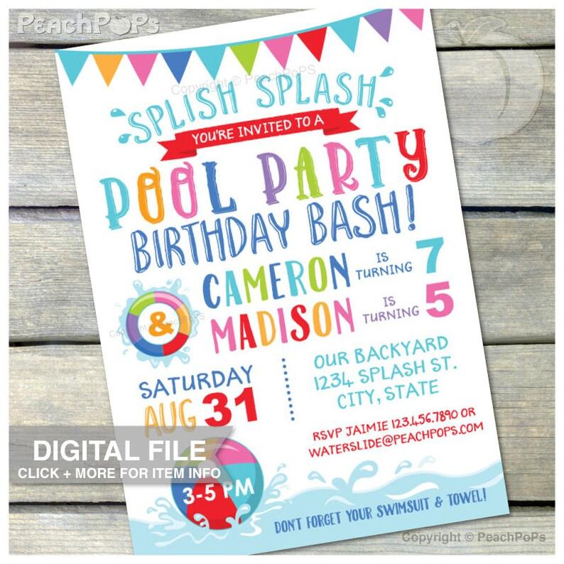 Joint POOL Party Birthday Bash Invitation Splish Splash  image 0