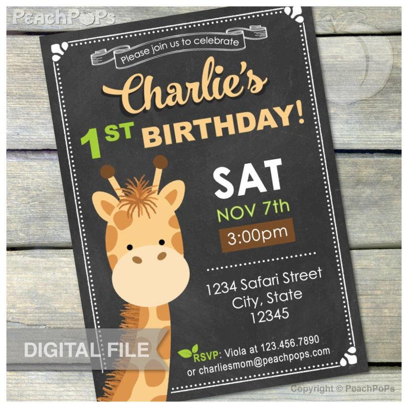 Giraffe Birthday Chalkboard Invitation 1st Safari Birthday image 0