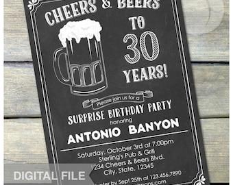 "Surprise 30th Birthday Chalkboard Invitation Cheers & Beers Birthday Party - Digital Invite 5"" x 7"" Digital Printable"