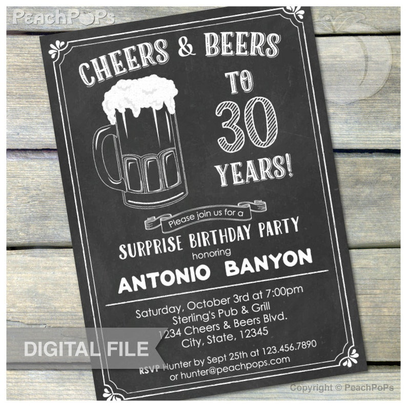 Surprise 30th Birthday Chalkboard Invitation Cheers & Beers image 0