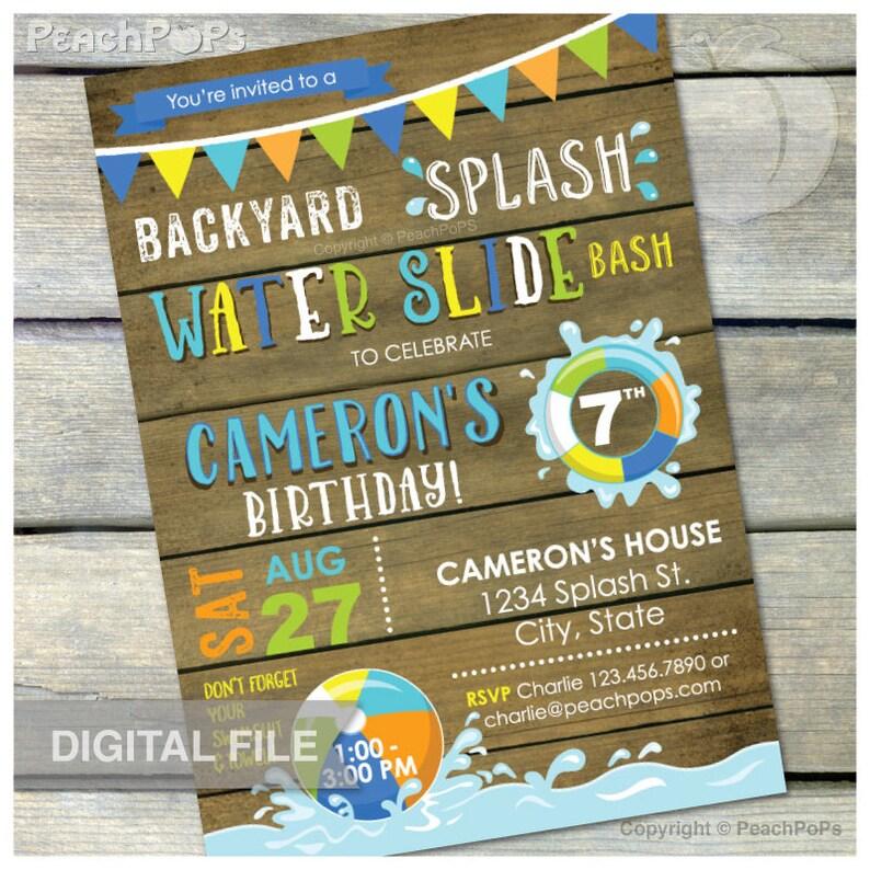 Splash Water Slide Waterslide Bash Birthday Party Invitation image 0