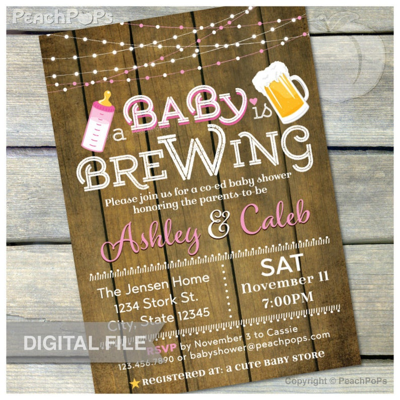 A Baby is Brewing Invitation Beer Baby Shower Pink Co-Ed image 0