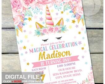 "Unicorn Birthday Invitation - Magical Floral Unicorn Birthday Party - Pink Gold - ANY AGE - DIGITAL Printable Invite - 5"" x 7"""