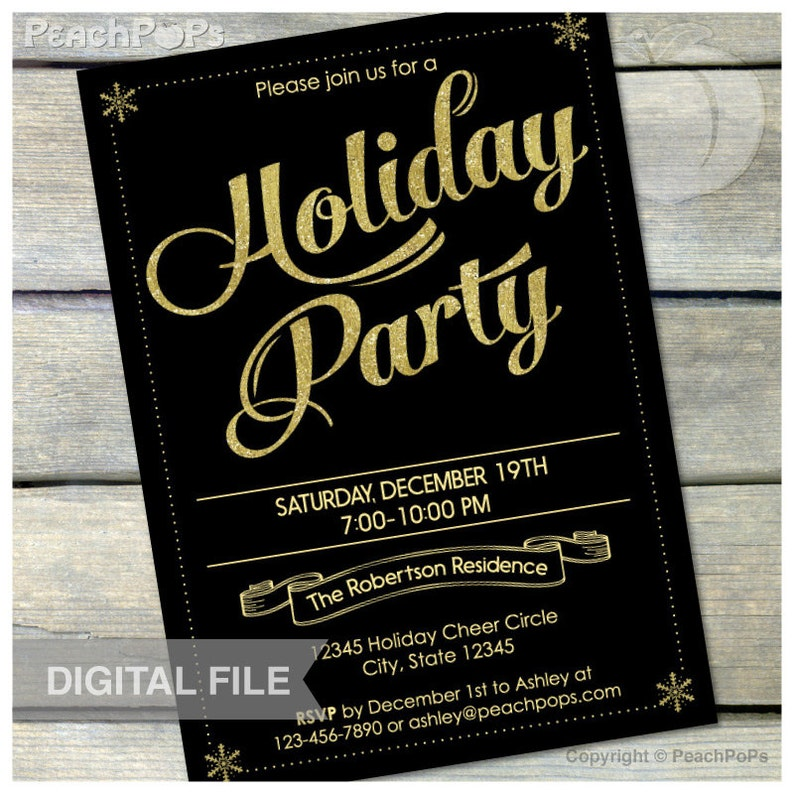 Gold Holiday Party Invitation Black and Gold Glitter Christmas image 0