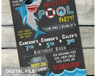 "Shark Pool Party Birthday Chalkboard Invitation - Triplets 3 Kids Siblings Joint Summer Swim Boys Girls - DIGITAL Printable Invite - 5"" x 7"""