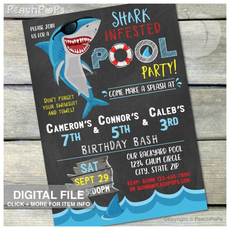 Shark Pool Party Birthday Chalkboard Invitation  Triplets 3 image 0