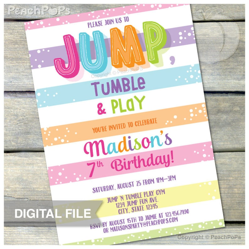 Jump Gymnastics Birthday Invitation Jump Tumble Play Pink Girl image 0