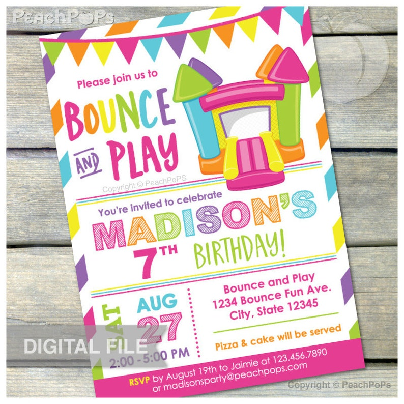 Bounce House Pink Birthday Invitation Bounce and Play Bouncy image 0