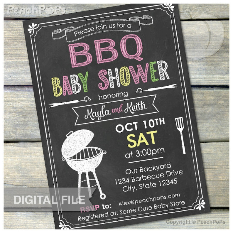BBQ Baby Shower Invitation Chalkboard Pink Co-Ed Couple Baby image 0