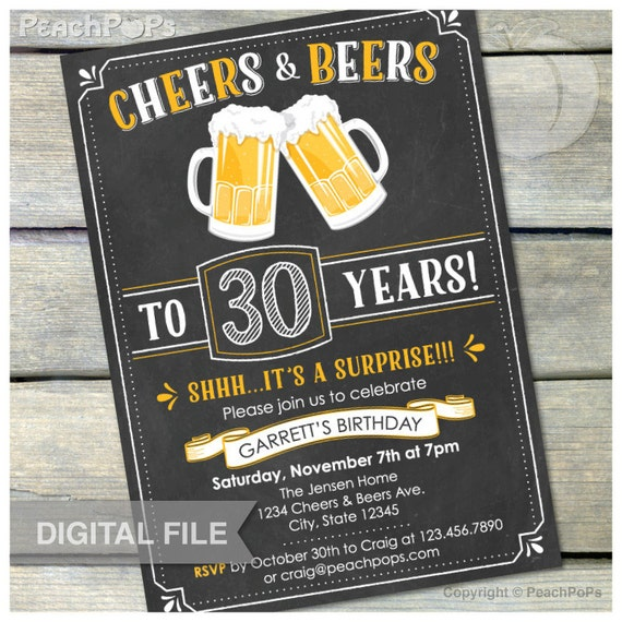 Surprise 30th Birthday Invitation Cheers Beers Invite