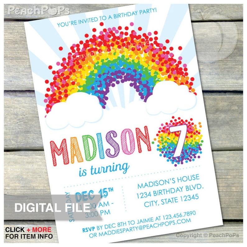 Rainbow 7th Birthday Party Invitation  ANY Age  Rainbow image 0