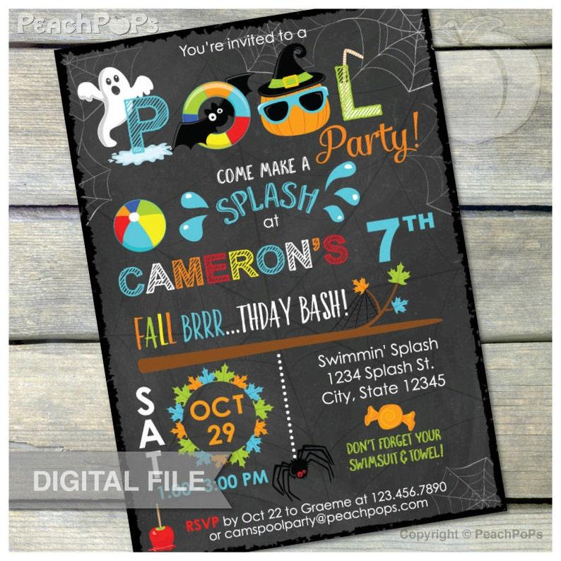 Fall Pool Birthday Party Chalkboard Invitation Halloween image 0