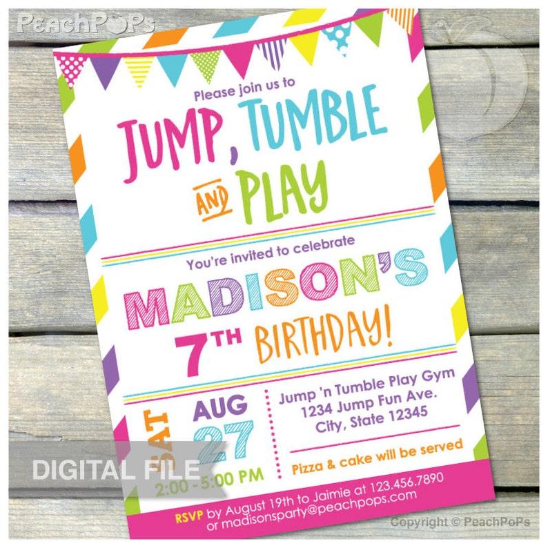 Gymnastics Birthday Invitation Jump Tumble Play Girls Pink image 0