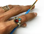 Colores Ring in Garnet, Topaz, Sapphires, Peridot, Turquoise, Ruby, Emerald in Sterling Silver, 14 and 24k Gold
