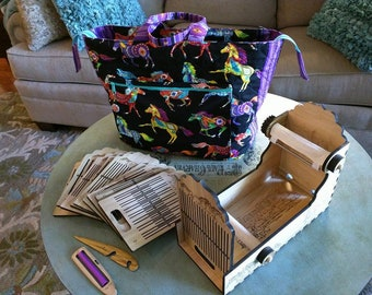 Cowgirl Complete Box Loom set w/ 10 heddles and carry bag