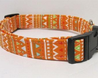 Orange Stripes and Triangles Handmade Dog Collar