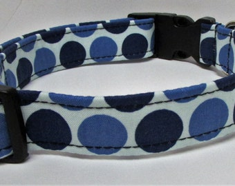 Large Blue dots on Blue Background Patterned Handmade Dog Collar