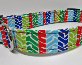 It's a Jeep Thing, Tire Tracks, in primary colors Handmade Dog Collar