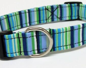 Blue and Greens Striped Handmade Dog Collar