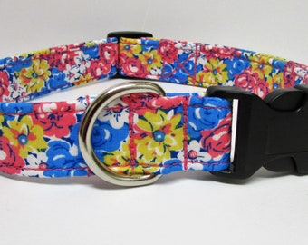 Super cute floral print in pinks, blues, and yellow, Handmade Dog Collar