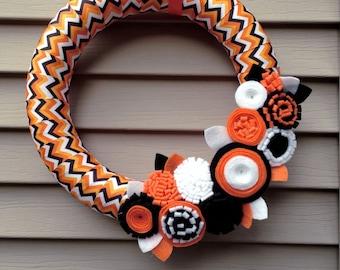 Halloween Wreath,  Halloween Door Decor - Fall Wreath, Autumn Wreath - Black, Orange Wreath - Chevron Wreath - Felt Wreath - Flower Wreath