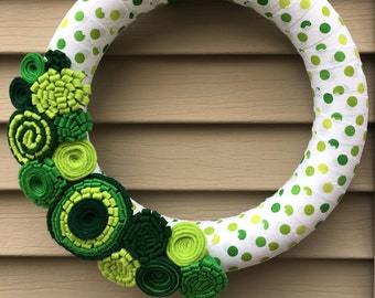 St. Patrick's Day Wreath - St. Patricks Day - Felt Flower Wreath - Shamrock Wreath - Green Wreath - Ribbon Wreath - St. Patricks Day Decor