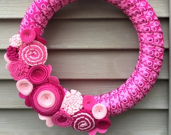 Valentines Day Wreath - Valentine Wreath - Valentine's Day Ribbon - Ribbon Wreath - Pink Wreath - Felt Flower Wreath - Heart Wreath - Vday