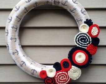 Anchor Wreath - Nautical Wreath - Beach Wreath - Spring Wreath - 4th of July Wreath - July 4th Wreath - Summer Wreath - Felt Flower Wreath