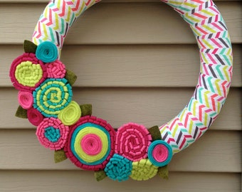 Easter Wreath - Spring Wreath - Mother's Day Wreath - Felt Flower Wreath - Ribbon Wreath - Felt Flower Wreath -Spring Decor - Striped Wreath