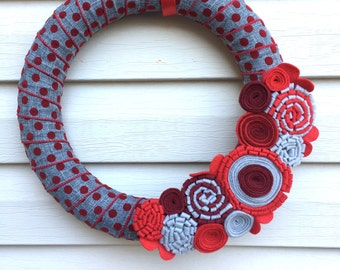 Valentine's Day Wreath - Heart Wreath - Valentine Wreath - Mother's Day Wreath - Polka Dot Wreath - Red Wreath - Felt Flower Wreath - Wreath